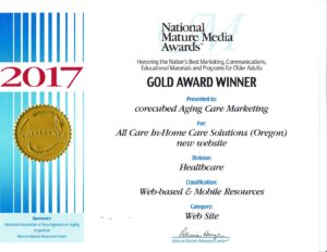 All Care website National Mature Award Winner