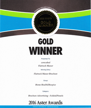 2016 Gold Aster Award Flatrock Manor's  Assisted Living Brochures