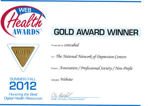2012 Web Health Gold AwardThe National Network of Depression Centers' website