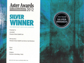 2012 Silver Aster Award WinnerBrochure Advertising for Premiere Home Health Care