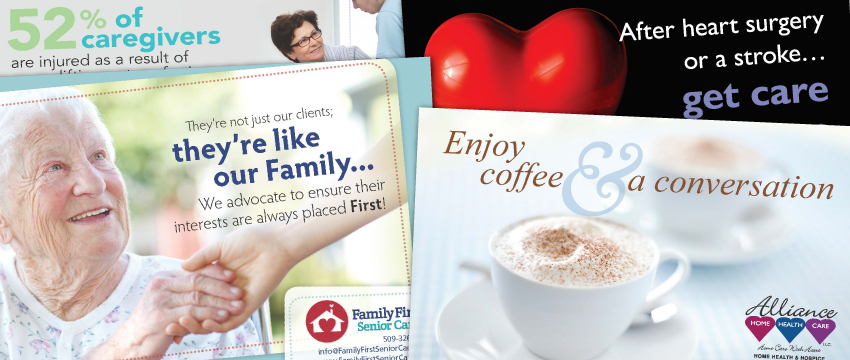 home care marketing postcards