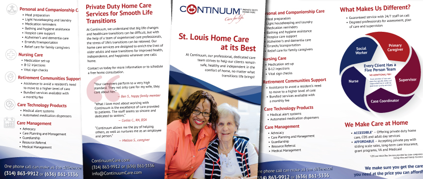 updated brochure design for continuum home care marketing experts
