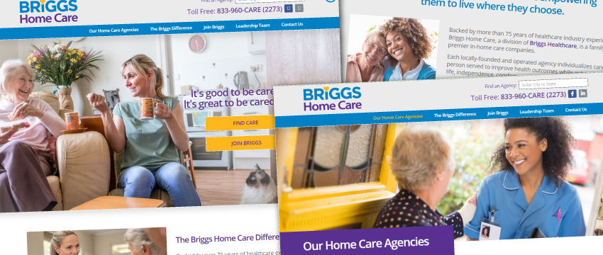 Briggs Home Care website and logo