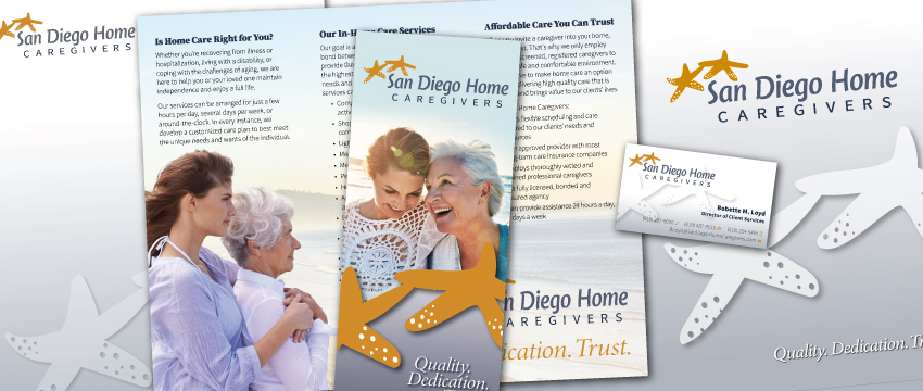 San Diego Home Caregivers - stationery, logo refinement, stationery, folder