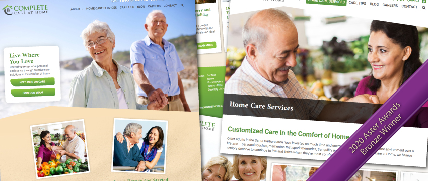 Complete Care at Home website - Bronze Aster Award Winner