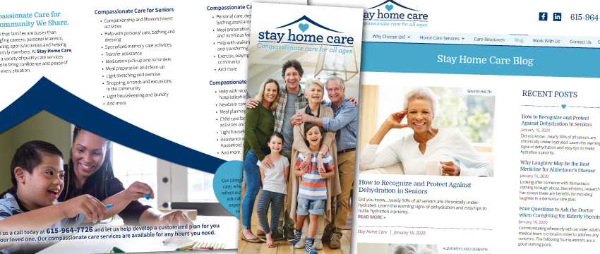 Stay Home Care, brochure, branding, blogging